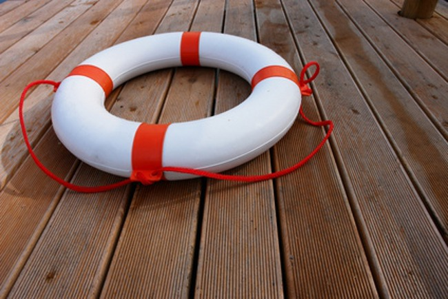 close-up of a lifebelt on a boat