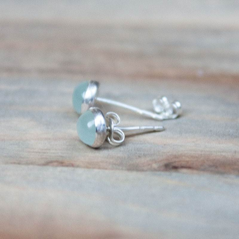 Aquamarine Sterling Silver Stud Earrings 6mm Cabochon