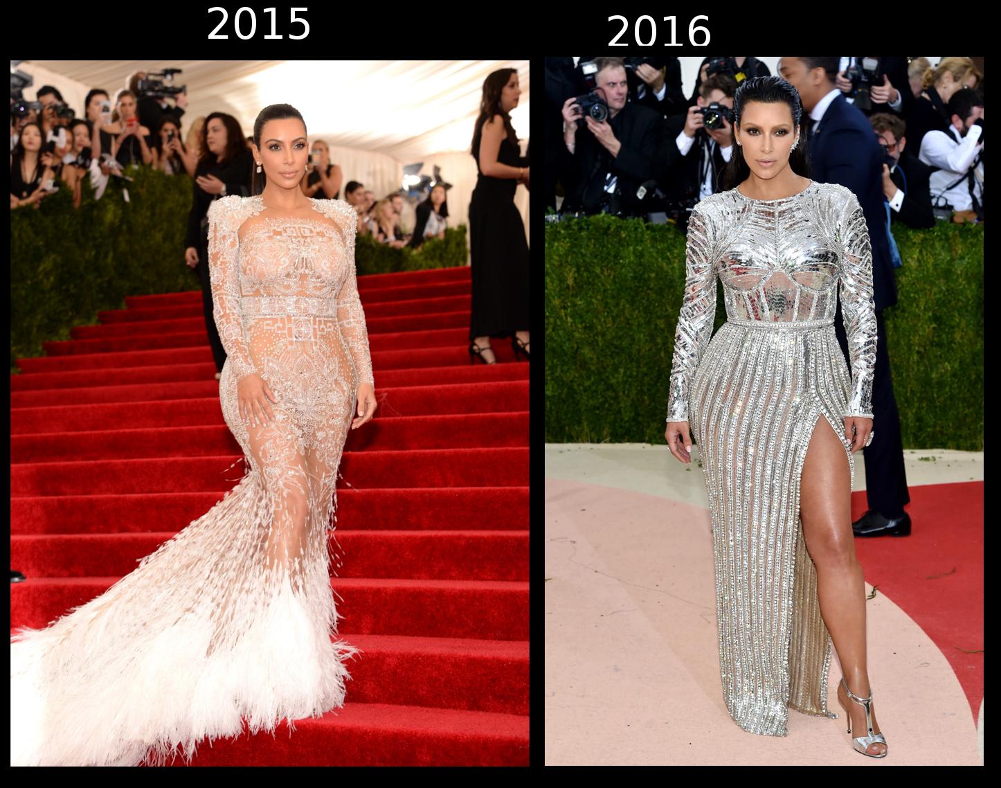 Kim Kardashian 2015 VE 2016 Met Gala kıyafetleri